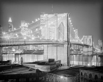 New York City Photo, Brooklyn Bridge, Brooklyn at Night, Black White, Photography, Poster Print, 1970s, Night Shot, New York