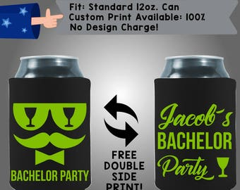 Name's Bachelor Collapsible Neoprene Bachelor Party Can Cooler Double Side Print (Bach103)