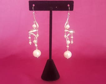 Freshwater Pearl and Sterling Silver Swirling Dangle and Drop Earrings