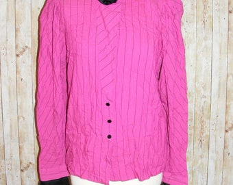 Size 12 vintage 80s extreme high rose neck long sleeve blouse pink stripe (HK85)