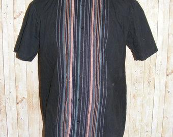 "Size L 44"" vintage 90s short sleeve casual shirt black stripe panel front (HJ20)"