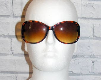 Vintage 80s deadstock oversize graduated round sunglasses tortoiseshell (HY04)