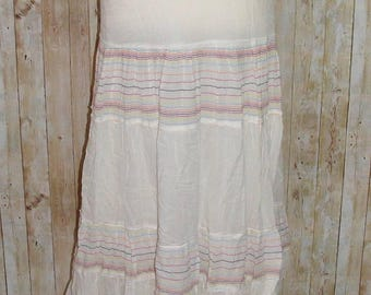 Size 12 vintage 70s style tiered embroidered stripes maxi skirt white (HK38)