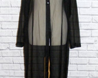 Size 18 vintage 90s l/sleeve evening maxi shirt/duster coat sheer black (IB11)
