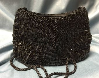 Vintage Walborg Beaded Blavk Purse