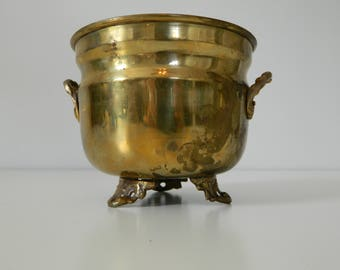 Mid Century Decor Brass Footed Planter or Pot