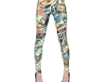 Painting Strokes Colorful Leggings