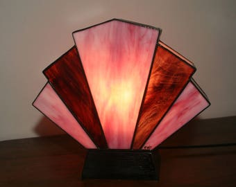 Lamp Art Deco stained glass Tiffany Flabellum lilac