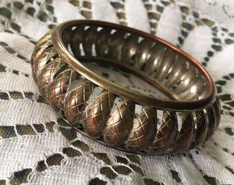 Vintage Copper and Brass Bangle Bracelet 1 Inch Wide