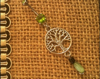 Handmade - Unique Tree of Life, Namaste, Bohemian Navel/Belly Bar/Ring - High Grade Surgical Steel - 10mm Bar