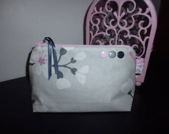 """""""Grey and pink"""" liberty makeup case to order"""
