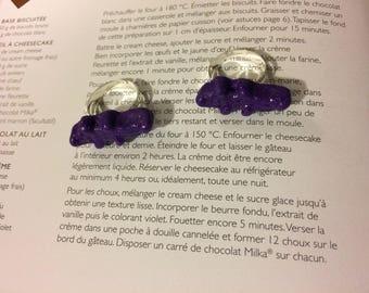 Small glittery purple crocodile ring