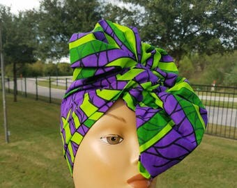 Purple And Green African Print Headwrap; African Headwrap; African Clothing;African Fabric Headwrap; African Scarf;Ankara Headwrap; Head tie