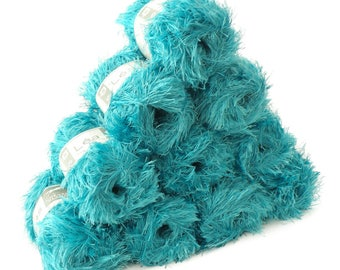 10 x 50 g effect yarn LEA with fringes, #106 turquoise