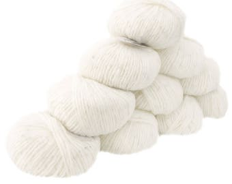 10 x 50 g luxury Knitting yarn Sapphire white sequins, color 016