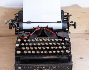 Royal No5 Typewriter, 1913 Collectors Item, Antique typewriter, Film prop, wedding prop, photo prop