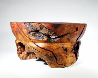 Red Mallee Burl Bowl, Natural Edge, Wooden Bowl, Wood Turning, Decorative Bowl, Decoration, Australian Red Mallee