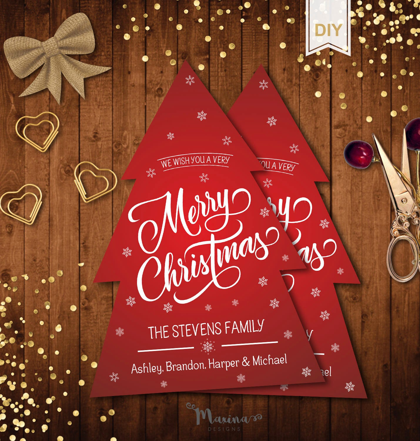 Merry Christmas Card Template Holiday Greetings Instant Download