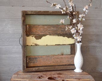 Reclaimed Wood Vintage Paneling Farmhouse Serving Tray