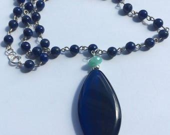 Denim blue necklace