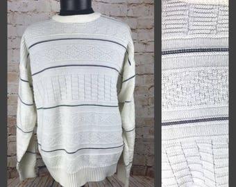 White Stripe 80's Sweater