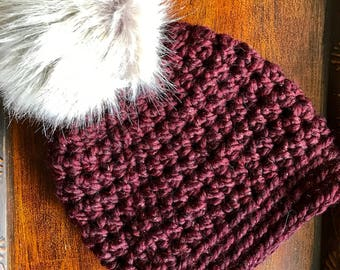 Cranberry Sparkle Slightly Slouchy Women's Winter Hat with luxe faux fur pom-pom