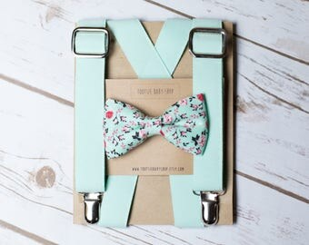 Mint and Floral Bow Tie/Suspender Set