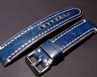 20 mm Vintage Style  Leather Watch Strap blue.