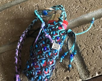 Hemp macrame lighter leash keychain galaxy