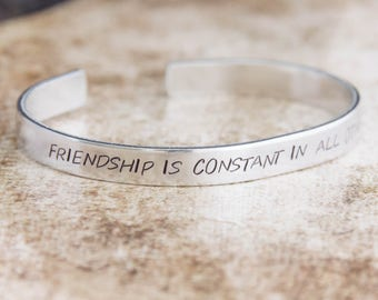 Friendship Is Constant In All Other Things / Friendship Bracelet / Shakespeare Gift / Shakespeare Jewelry / Literary Jewelry / Literary Gift