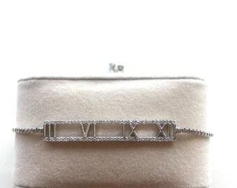 Silver Plated Roman Numerical Bracelet. Adjustable Bracelet, Zirconia