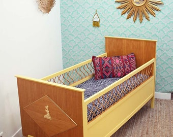 Baby cot yellow rattan and wood