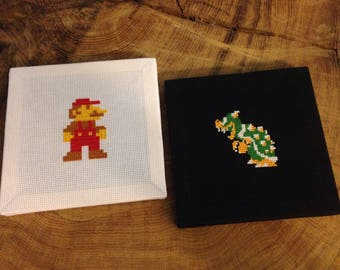 Mario and Bowser cross stitch