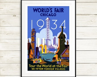 Chicago World's Fair 1934 poster, Chicago posters, vintage chicago, vintage world's fair posters, worlds fair 1934, Chicago Illinois prints