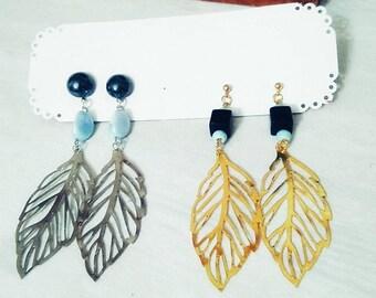 Gold leaf Earrings. Silver Leaf Earrings