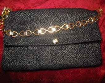 style bag, large wallet, black and gold