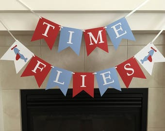 Time Flies Banner, Airplane Themed Birthday, Airplanes, Plane Party, Birthday Banner, Party Decoration, Photo Prop