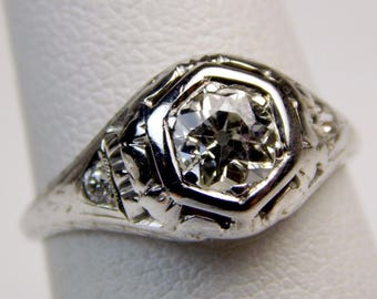 Deco 18k .60 Ct VS2 old european cut diamond engagement ring #10614