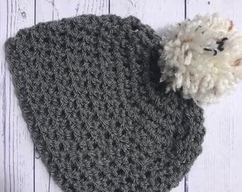 Handmade Crochet Baby Hat 3-6 months, Baby Boy Girl Pompom Hat, Baby Winter Woolly Hat 3-6 mths, Grey Baby Beanie Hat 3-6 mths, Baby Winter