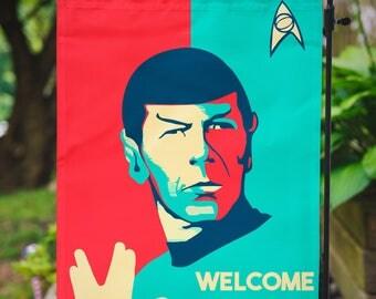 Star Trek Garden Flag | Spock Welcome Home | 12.5 x 18 in | 31.7 x 45.7 cm