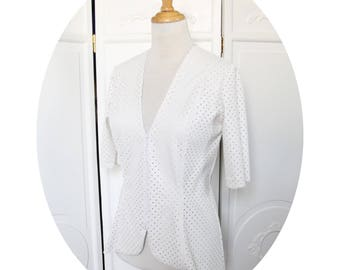 Jacket white faux leather and cotton, short white jacket, jacket faux leather perforated star, white jacket has zip white fitted jacket
