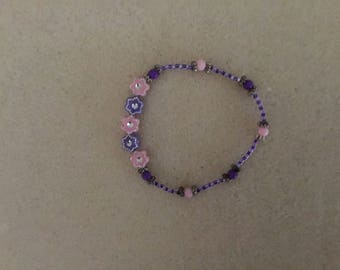 Girls Stretch Cord Purple & Pink Beads Bracelet.