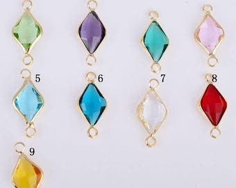 Gold Framed glass charm, faceted glass charm/pendant/connector,  22MM*10MM