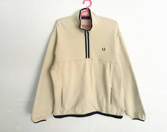 Rare!! Vintage Fred Perry Small Logo Embroidery Half Zipper Sweatshirt