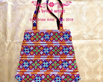 Vintage Black Handbag Kutchi mirrorwork, Handmade shoulderbag Traditional Gujarati Embroidered Banjara Bag