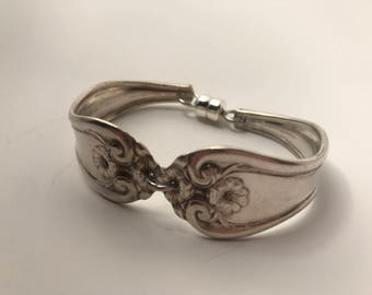 Bracelet Made From 2 Vintage Silver Plated Serving Spoons