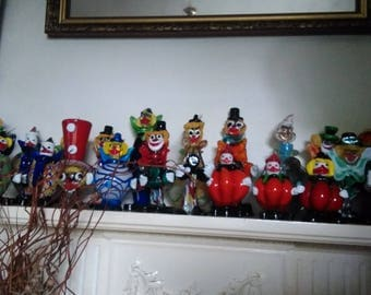Collection of 23 Vintage Murano Art Glass Clowns.