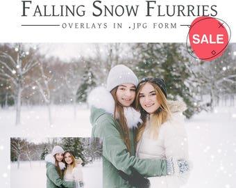 6 Falling Snow Flurries   .JPG   Photoshop Overlays   Snow Flurry   Christmas Snow   Holiday Snow