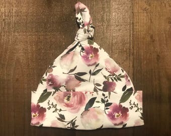 Baby Hat - Single Knot - Floral - Cotton Spandex Jersey - Sizes 0-3 months (Newborn), 3-6 months.