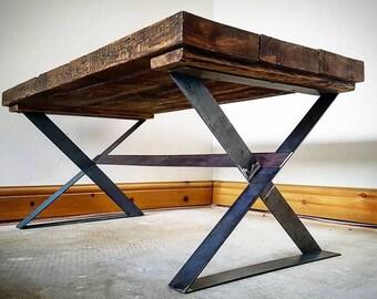 Handmade Industrial style Reclaimed beam coffee table with steel cross X legs